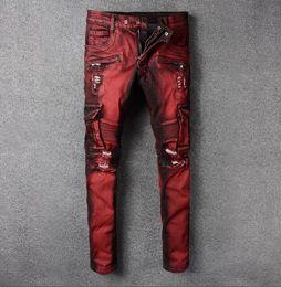 Wholesale Wash Design Denim Pant - 2018 Famous Designer Brand Drape Panel Big Pocket Design Men Casual Moto Biker Jeans Stylish Vintage Washed Denim Pants Relaxed Trousers Red
