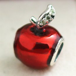 Wholesale Apple Movie - 100% 925 Sterling Silver Snow Whites Apple Charm Bead with Red Enamel and Cz Fits European Jewelry Bracelets Necklaces & Pendants