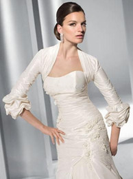 Wholesale Cheap Quality Jackets - 2015 cheap high quality ivory taffeta HOT SALE Jacket Match for The Wedding Dresses Gowns Bolero Middle Sleeve Wraps bridal jacket in stock