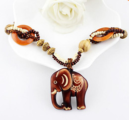 Wholesale Wood Beads For Jewelry Making - Boho Ethnic Jewelry Long Hand Made Bead Wood Elephant Pendant Maxi Necklace For Women