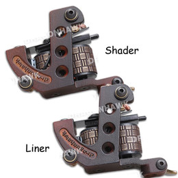 Wholesale Tattoo Cast Frames - 2 pcs Tattoo Machine Gun Liner&Shader Steel Frame Copper Coils WQ4448&4448-1