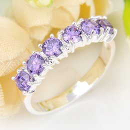 Wholesale Wholesale Lucky Ring Stone - 5 Pieces 1 lot Lucky Shine Full Stones Ring Shiny Round Amethyst Crystal 925 Sterling Silver Rings Russia American Australia Wedding Rings