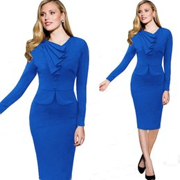 Wholesale Ladies Party Wear Tops - Dropshipping Top Fashion New Lady 2015 Spring Winter Long Sleeve Wear To Work Back Zipper Elegant Party Knee-Length Dress S-XXL