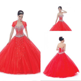 15 vestidos gratis Rebajas Free Shipping Ball Gown Sweetheart Floor Length Red Tulle Crystal 15 Years Girls Quinceanera Dress With Short Sleeve Crystal Prom Dresses