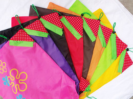 Wholesale Clothes Stock Wholesalers - Nylon Portable Creative Strawberry Foldable Shopping Bags Reusable Environmental Protection Pouch Eco-Friendly Shopping Bags Tote Bags