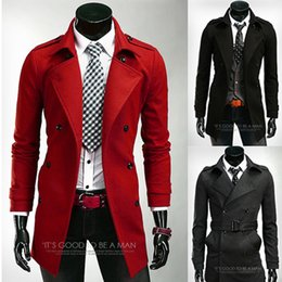 Wholesale Mens Gray Trench Coat - Fall-2015 Hot New Fashion Mens Coats New Fashion Red Black Dark Gray Long Trench Coat Men cardigan Manteau Homme Special Trench Coat