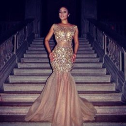 Wholesale Dress Fares - Long Evening Dresses 2017 Champagne Mermaid Luxury With Full Sleeve Crystal Top Myriam Fares Design Cheap Wholesale Organza Formal Prom Gown