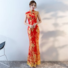 Wholesale Red Lace Qipao - Shanghai Story 2018 Mermaid Qipao long Cheonsam flower embroidered mermaid fish tail chinese style cheongsam sequins chinese dress For woman