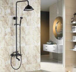Wholesale Oil Rubbed Bronze Knobs - Oil Rubbed Bronze Bathtub Bath Shower Column Faucet Mixer Set Double Cross Knobs
