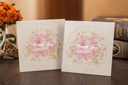 Wholesale Wedding Card Designs Free - New Graceful charming Hollow Design Wedding Invitation Cards Cut-out Flower Invitation Cards Personalized (Set Of 50) Free Shipping