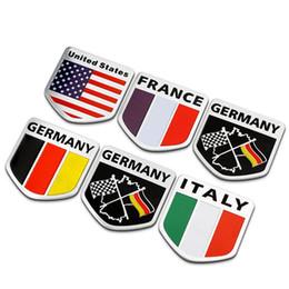 Wholesale 3d Stickers Italy - 3D Aluminum Russia USA FRANCE GERMANY ITALY Flag car sticker accessories For ford focus cruze kia rio skoda octavia VW honda