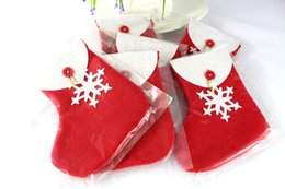 Wholesale medium white gift bags - 1080pcs Merry Christmas White Snowflake Christmas Candy Socks Indoor Hanging Stockings Christmas Decoration Christmas Gift Bag