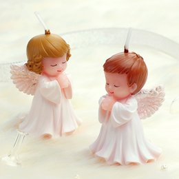 Wholesale Lovely Craft - Lovely Angel Birthday Candle Creative Art Craft Candle Eco Friendly No Smoke Baby Birthday Gift SD944