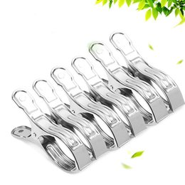 Wholesale Hangers Round - Non Deforming Clothes Clips Windproof Smooth Pinch Design Pegs Hanging Round Hole Stainless Steel Drying Was Caught Hanger Silver 0 5fw B