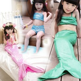 Wholesale Swimsuit Top Cute - Kids Swimwear Baby Girls Sequins Mermaid three pieces sets swimsuit tank top+skirt+short Cute Children Sleepwear Swiming Clothes