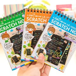 Wholesale Magic Color Scratch Paper - Wholesale-A01-2-01 creative hand-painted paint scratch the coating color DIY fun magic coil blow painting Drawing Paper