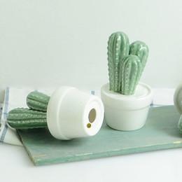 Wholesale Art Cactus - Creative Ceramic Cacti Potted Plant Desktop Decoration Mini Pot Culture Take Photo Props Arts And Crafts Gifts 7 99mx C