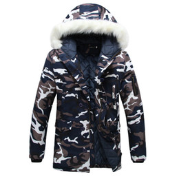 Wholesale Winter Jacket Fur Wadded - Winter parka men Thicken Lovers wadded jacket Camouflage large fur collar cotton-padded jacket outerwear Free shipping Plus Size M- 3XL
