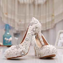 Wholesale Silver Bridesmaids Heels - Handmade beautiful wedding Shoes round toe white pearls flowers High Heels Bridal dresses Shoes crystal Bridesmaid dress Pumps