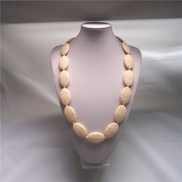 2019 pflege halskette perlen Hot 7 FARBEN Baby Momma Oval Diamant Perlen Silikon Halskette Zahnen / Pflege / Sensory mit ovalen Perlen günstig pflege halskette perlen