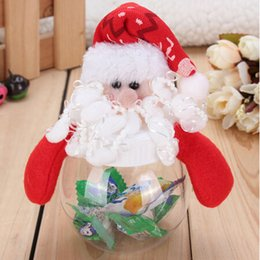 Wholesale Clear Plastic Favor Bags - Wholesale- 1pcs Mini Santa Clear Plastic Candy Bag Gift Storage Bottle Holder Xmas Decor Christmas Candy Bottle for Christmas Gift