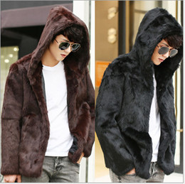 Wholesale Korean Fur Hooded Jacket - 2015 Korean Fashion Winter Mens Faux Fur Coat Windbreaker Slim Casual Luxury Plus Size Hooded Rabbit Fur Coat Jackets V510