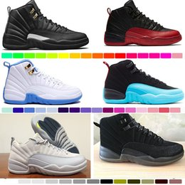 Wholesale Wool W - 2017 cheap air retro 12 wool XII basketball shoes ovo white Flu Game wolf grey Gym red taxi gamma french blue Suede sneaker