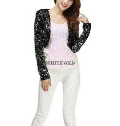 Wholesale Short Sleeve Bolero Shrug - Cheap Sequin Special Occasion Bolero Evening Entertainer Stage Dance Shrug Cardigan Costume Tops Clothing Jackets Wear for Musicians Women