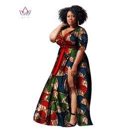Wholesale Normal Dresses For Women - BRW Bazin Riche African Wax Print Dashiki Dresses Plus Size African Style Clothing for Women Long normal life Dresses WY1169
