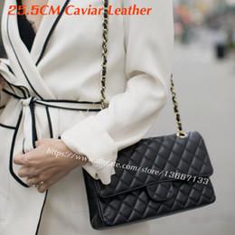 Wholesale Classic Fashion Handbags - 2018 Women's Shoulder Bag 25.5cm Black Caviar Leather Flap Bag Women's Genuine Leather Fashion Handbags classic 1112 Bag Real Leather