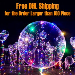 Wholesale Birthday Wave - Luminous LED Transparent Clear BoBo Balloon 18 inch Light Colorful Wave Helium Ball for Birthday Wedding Christmas Party Decorative Light Up