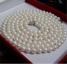 "Wholesale Long Cultured Pearl Necklaces - Free Shipping ***25"" long New 7-8mm white Akoya CULTURED pearl necklace"