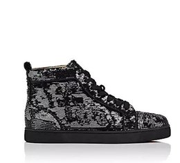 Wholesale big bottom - Wholesale Fashion 2018 black glitter Men Brand Designer Red Bottoms Shoes High Top Genuine Leather Casual Flat Margiela Sneakers big size 47
