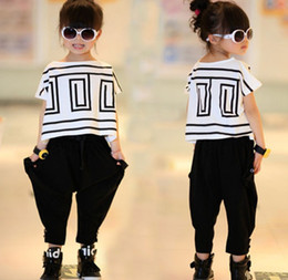 Wholesale Bat Girl Outfit - Big Girls Summer Sets Outfits Bat Sleeve Loose T-shirt Tops+Black Harem Pants 2pcs Kids Children Clothing Fashion Girls Casual Suit K4852