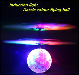 Wholesale Light Toy Fan - Induction lights light aircraft flash induction fans infrared remote control remote sensing airplanes flying ball toys free shipping