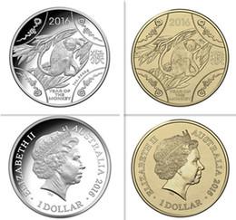 Wholesale Gold Zodiac Coin - 2 pcs lot( 1set), Mix 2 designs 2016 Lunar Series Animal Year of the monkey Chinese zodiac silver gold plated Eilzabeth souvenir coin set