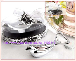 """Wholesale Bird Opener - 50pcs lot NEW The """" Love Dove """" Bird Silver Chrome Wine Bottle Beer Can Opener Bridal Wedding Shower Favors Gift With Retail Package"""