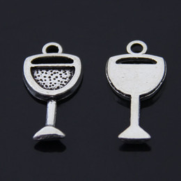 Wholesale Wine Glass Silver Jewelry - Free Shipping 60pcs lot Goblet Wine Glass cup charm pendant 20*11mm antique silver fit necklace diy metal jewelry making