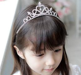 ruban en gros grain gravé rose Promotion Princesse Hairbands Enfants De La Fille Mignonne Douce Strass Couronne Partie Argent Chapellerie Pour Enfants GR001