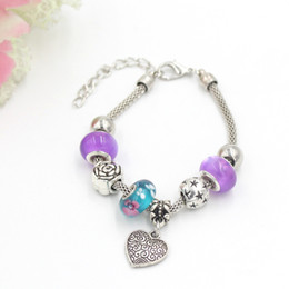Wholesale Teal European Bead - Free Shipping New Arrival Charm Bracelet European Style Flower Teal Color Murano Glass Beads Rose Heart Char Bracelet for Women Gift Jewelry