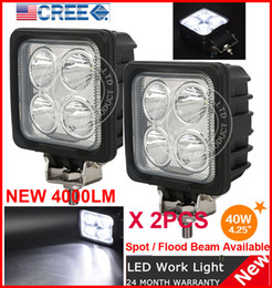 "Wholesale Offroad Fog Driving Light Atv - EMS 2PCS 4.25"" 40W 4LED*10W CREE LED Driving Work Light Square Offroad SUV ATV 4WD 4x4 Spot   Flood Beam 12 24V 4000lm Truck Fog Headlamp"