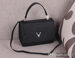 Wholesale Ii Tone - HOT SALE!!Women M50579 Black Lockme II Shoulder Bag,Soft Calfskin Leather,Tone-on-tone Twill textile lining,Keybell,Twist lock closure,Strap