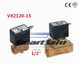 Wholesale Mini Valve Solenoid - 3pcs lot Direct Drive 1 2'' SMC Equivalent 2 Way Brass Solenoid Valve VX2120-15 Mini Micro Pnematic Solenoid Valves Water Air