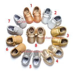 Wholesale Polka Dots Fabric Wholesale - 8 Color Baby moccasins soft sole 100% genuine leather first walker shoes baby newborn shoes Tassels maccasions shoes B001