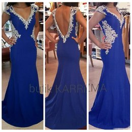 Wholesale Sexy Dazzing - 2016 Dazzing Plus Size Formal Mermaid Evening Dresse Short Sleeves Chiffon Royal Blue V Neck Portrait V-Shape Back Beaded Crystal
