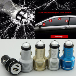 Wholesale Fast Cars Uk - Quick Charge 3.1A Aluminum USB Car Charger + Safety Hammer Mini Portable Fast Dual USB Type-C Car Charger