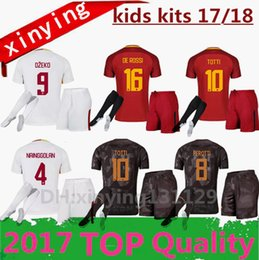 Wholesale New Kids Sets - new 17 18 kids RomE HOME AWAY 3RD soccer jersey kit 2017 2018 Football shirt TOTTI DZEKO DE ROSSI ROMA NAINGGOLAN kids Sets