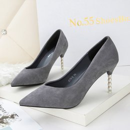 Wholesale String Wedding Dresses - Shoes Woman String Bead High Heels Pumps Flock Pointed Toe Sandals Shallow Slip on Slides Red Black Pink Gray