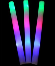 Wholesale Plastic Bar Supplies - 30pcs lot Long glowing sticks party toys led light-up sponge bar supplies toy led fans foam rods flashing concert swing props