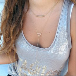 Wholesale Drop Triangle Necklaces - Necklaces Pendants Fashion Women Bohemia Gold Plated Metal Bend Hollow Out Geometric Triangle Tassel Necklace Wholesale Drop Shipping SN752